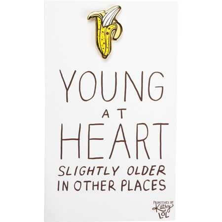 "Enamel Pin - Young At Heart - Pin: 1"" x 1"", Card: 3"" x 5"" - Metal, Enamel, Paper"