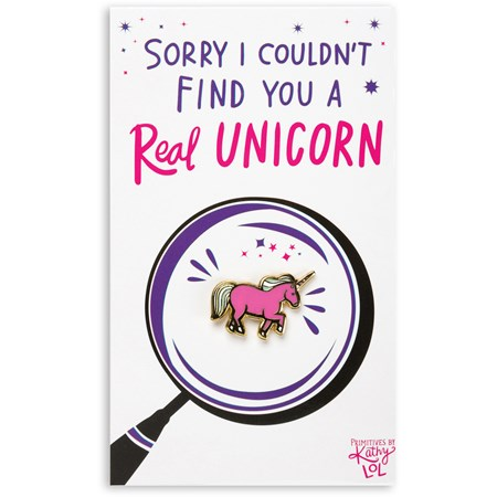 "Enamel Pin - Couldn't Find You A Real Unicorn - Pin: 1"" x 0.75"", Card: 3"" x 5"" - Metal, Enamel, Paper"