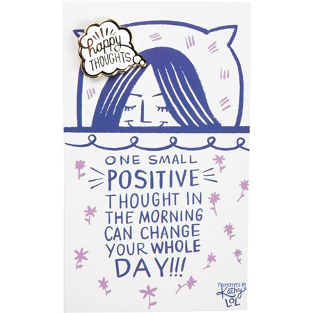 "Enamel Pin - Can Change Your Whole Day - Pin: 1"" x 1"", Card: 3"" x 5"" - Metal, Enamel, Paper"