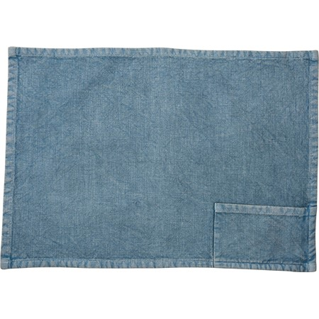 "Pocket Placemat - Blue - 19"" x 13"", Pocket: 6"" x 3.50"" - Cotton"