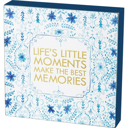 "Box Sign - Life's Little Moments Make The Best Mem - 8"" x 8"" x 1.75"" - Wood, Paper"