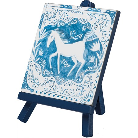 "Easel - Horse - 6"" x 7.75"" x 4.50"" - Wood, Paper, Ribbon"