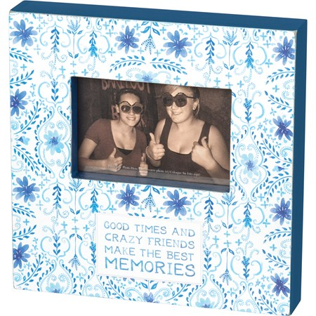 "Box Frame - Good Times & Crazy Friends - 10"" x 10"" x 2"", Fits 6"" x 4"" Photo - Wood, Paper, Glass"