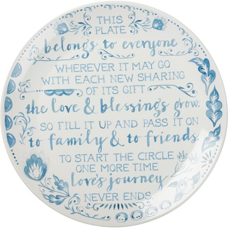 "Blessing Plate - Fill It Up And Pass It On - 12"" Diameter - Stoneware"