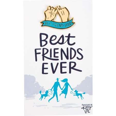 "Enamel Pin - Best Friends Ever - Pin: 1.50"" x 1"", Card: 3"" x 5"" - Metal, Enamel, Paper"
