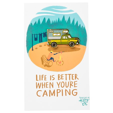 "Enamel Pin - Life Is Better When Camping - Pin: 1.50"" x 1"", Card: 3"" x 5"" - Metal, Enamel, Paper"