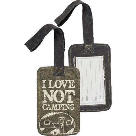 "Luggage Tag - I Love Not Camping - 3.25"" x 5.25"" - Canvas, Plastic"