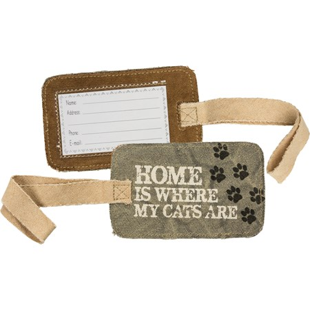 "Luggage Tag - Home Is Where My Cats Are - 5.25"" x 3.25"" - Canvas, Plastic"
