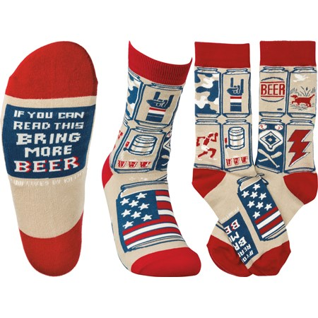 Socks - If You Can Read This Bring More Beer - One Size Fits Most - Cotton, Nylon, Spandex