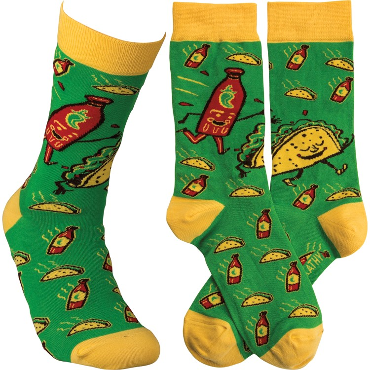 Socks - Taco & Hot Sauce - One Size Fits Most - Cotton, Nylon, Spandex