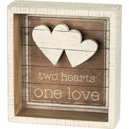 "Reverse Box Sign - Two Hearts One Love - 5.50"" x 6"" x 1.75"" - Wood, Paper"