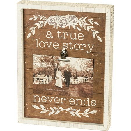 "Inset Box Frame - A True Love Story Never Ends - 9"" x 12"" x 1.75"", Fits 6"" x 4"" Photo - Wood, Paper, Metal"