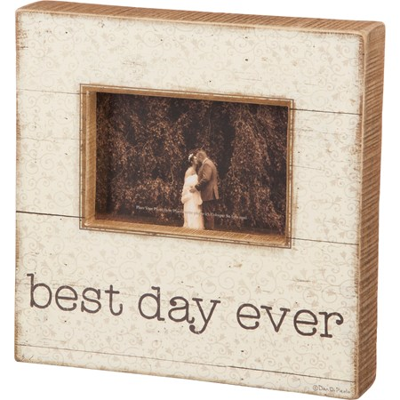 "Slat Box Sign Frame - Best Day Ever - 10"" x 10"" x 2"", Fits 6"" x 4"" Photo - Wood, Paper, Glass"