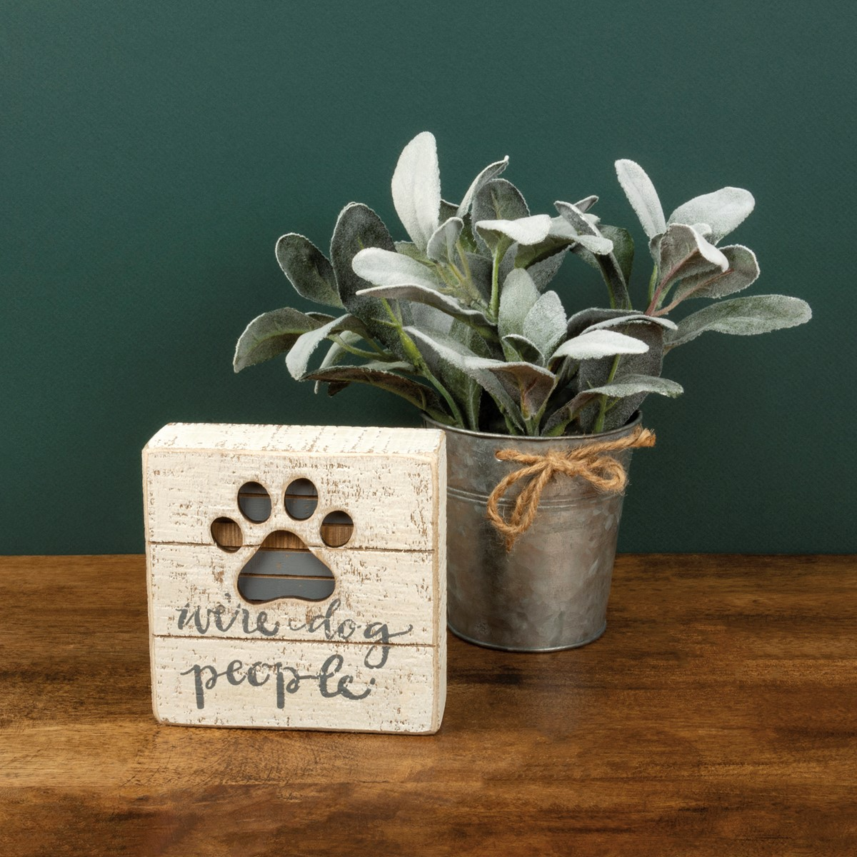 "Slat Box Sign - We're Dog People - 5"" x 5"" x 1.75"" - Wood"