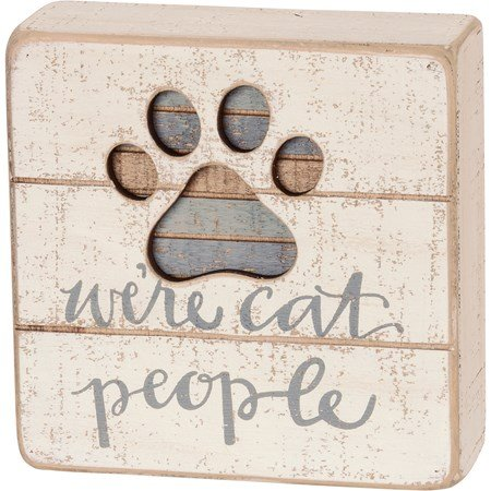 "Slat Box Sign - We're Cat People - 5"" x 5"" x 1.75"" - Wood"