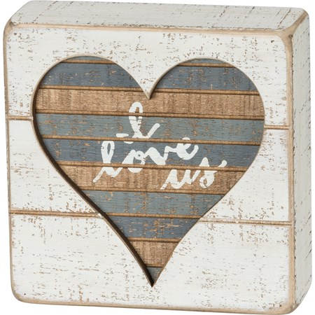 "Slat Box Sign - I Love Us - 5"" x 5"" x 1.75"" - Wood"