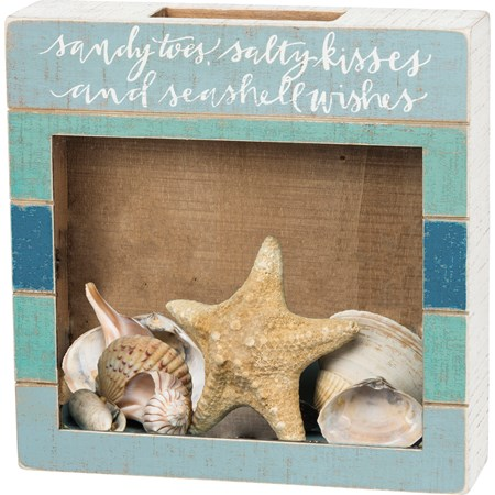 "Shell Holder - Sandy Toes Seashell Wishes - 10"" x 10"" x 2.75"" - Wood, Glass"