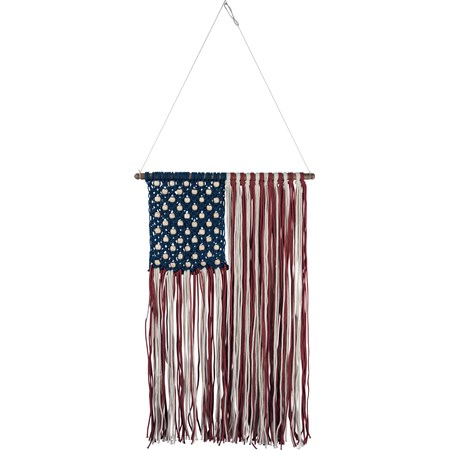 "Macrame - Flag Wall Hanging - 17"" x 22"" - Cotton, Beads, Wood"