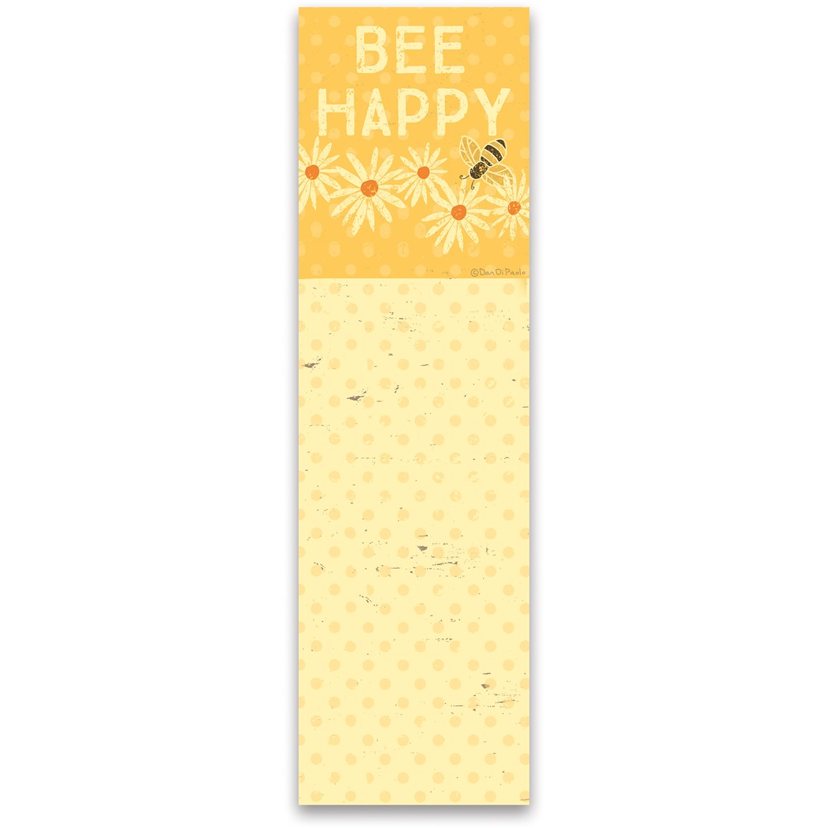 "List Notepad - Bee Happy - 2.75"" x 9.50"" x 0.25"" - Paper, Magnet"