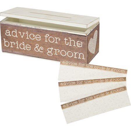 "Advice Box - Advice For The Bride & Groom - 10"" x 4"" x 4"" - Wood, Paper, Metal"