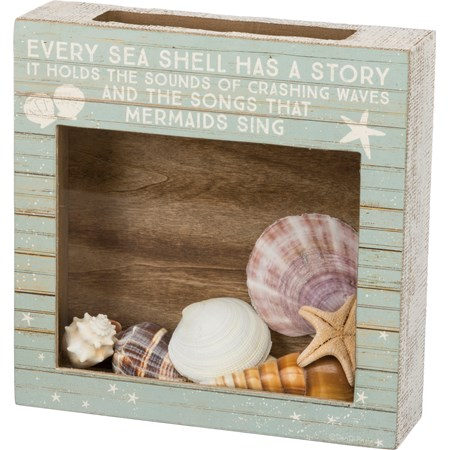 "Shell Holder - Every Sea Shell Has A Story - 10"" x 10"" x 2.50"" - Wood, Paper, Glass"