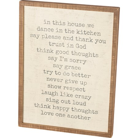 "Inset Box Sign - In This House We Trust In God - 18"" x 24"" x 1.75"" - Wood"