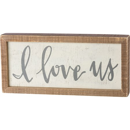 "Inset Box Sign - I Love Us - 12"" x 5.50"" x 1.75"" - Wood"
