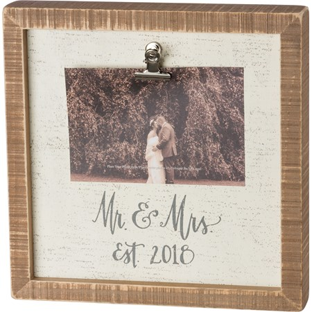 "Inset Box Sign Frame - Mr and Mrs Est. 2018 - 10"" Square, Fits 6"" x 4"" Photo - Wood, Metal"