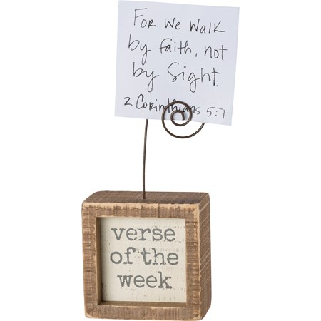 "Mini Inset Photo Block - Verse of the week - 3"" x 3"" x 1.50"", Plus Wire - Wood, Wire"