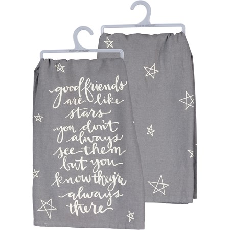 "Dish Towel - Good Friends Like Stars Always There - 28"" x 28"" - Cotton"