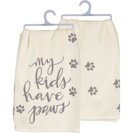 "Dish Towel - My Kids Have Paws - 28"" x 28"" - Cotton"