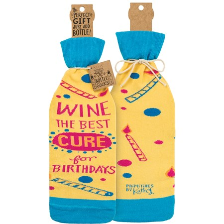"Bottle Sock - Wine The Best Cure For Birthdays - 3.50"" x 11.25"", Fits 750mL to 1.5L bottles - Cotton, Nylon, Spandex"