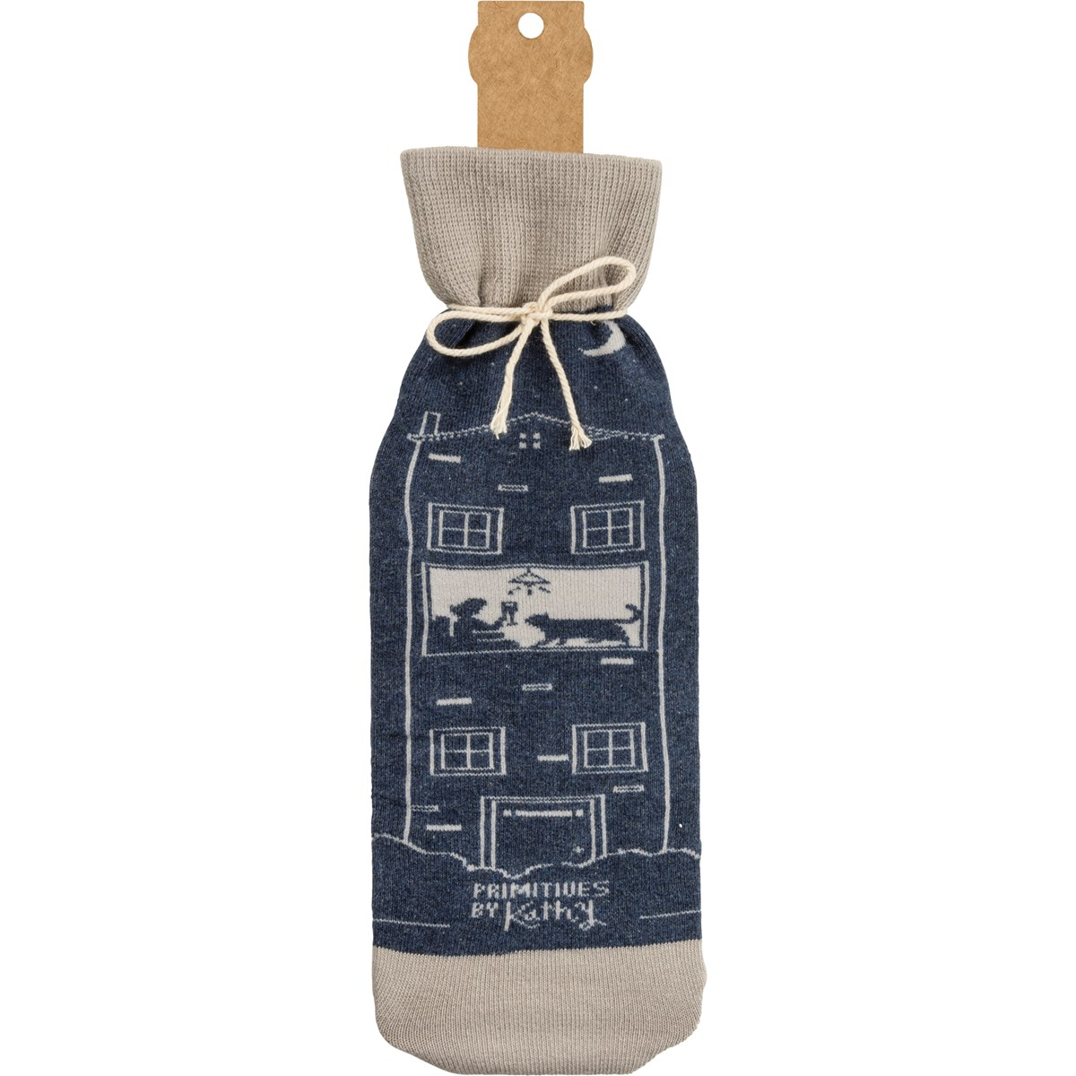 "Bottle Sock - Not Drinking Alone If Cat Home - 3.50"" x 11.25"", Fits 750mL to 1.5L bottles - Cotton, Nylon, Spandex"