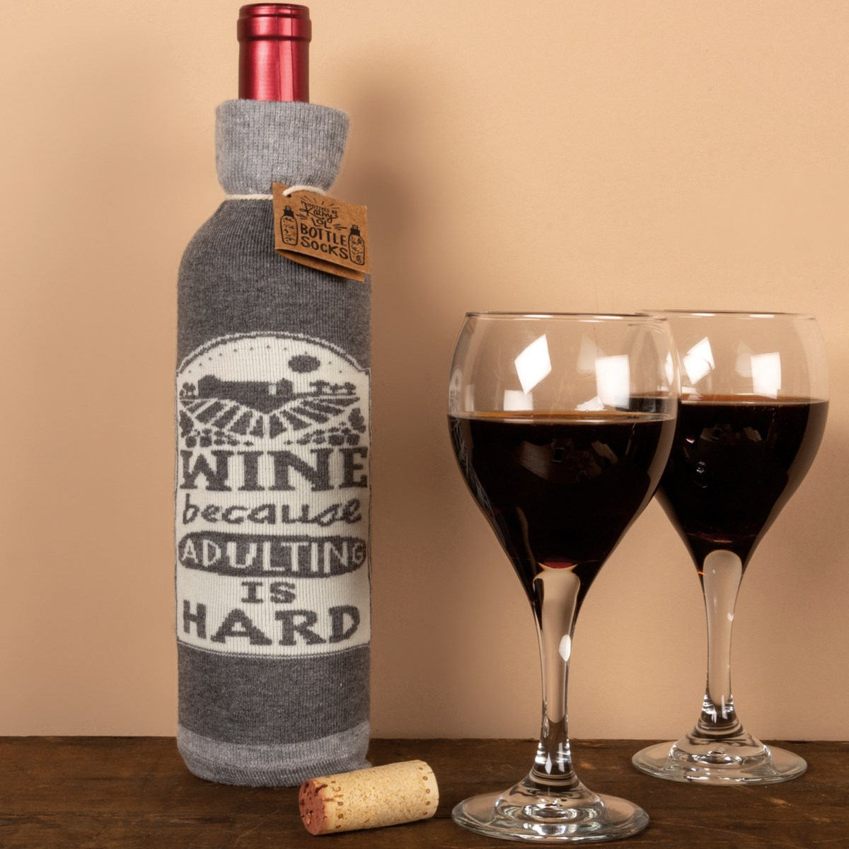 "Bottle Sock - Wine Because Adulting Is Hard - 3.50"" x 11.25"", Fits 750mL to 1.5L bottles - Cotton, Nylon, Spandex"