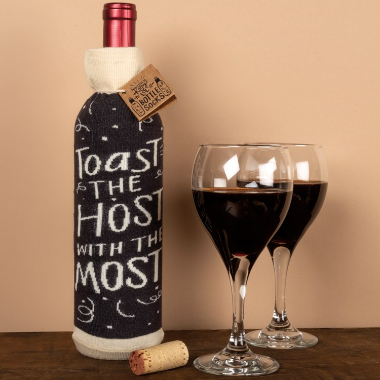 "Bottle Sock -Toast The Host With The Most - 3.50"" x 11.25"", Fits 750mL to 1.5L bottles - Cotton, Nylon, Spandex"