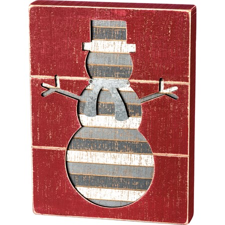 "Slat Box Sign - Snowman - 9"" x 12"" x 1.75"" - Wood, Metal"