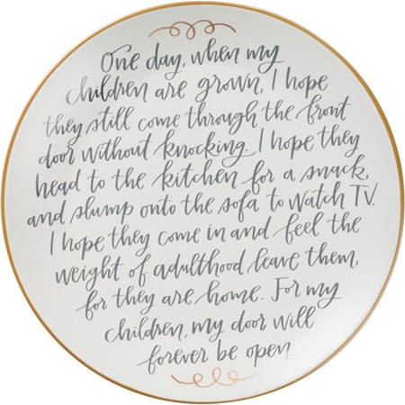 "Memory Plate - For My Children Door Will Forever - 12"" Diameter - Stoneware"