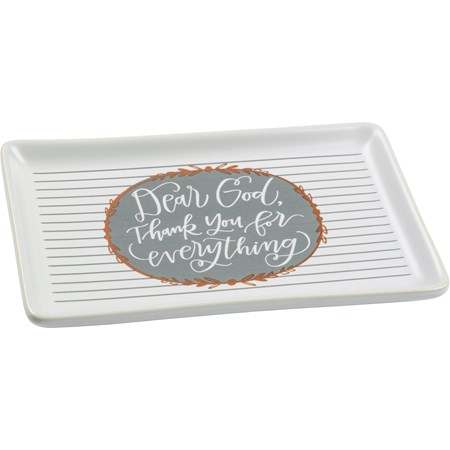"Trinket Tray - Dear God Thank You For Everything - 6.75"" x 4.25"" x 0.75"" - Stoneware"