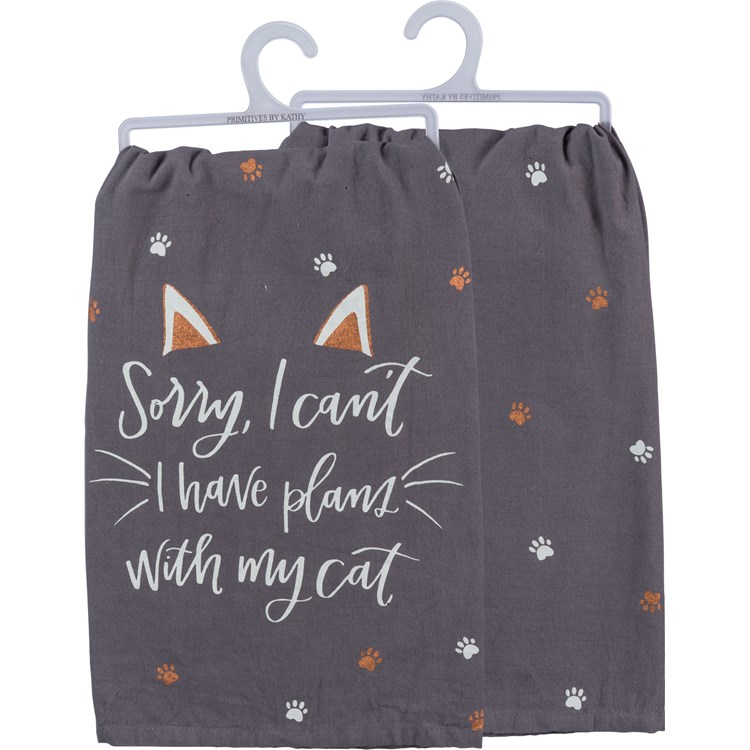 "Dish Towel - Sorry Can't Have Plans With My Cat - 28"" x 28"" - Cotton"