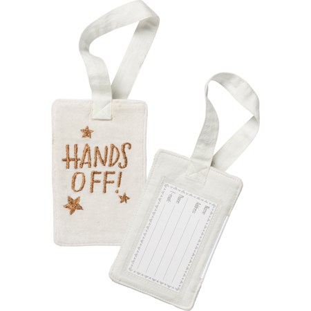 "Luggage Tag - Hands Off - 3.25"" x 5.25"" - Velvet, Plastic"