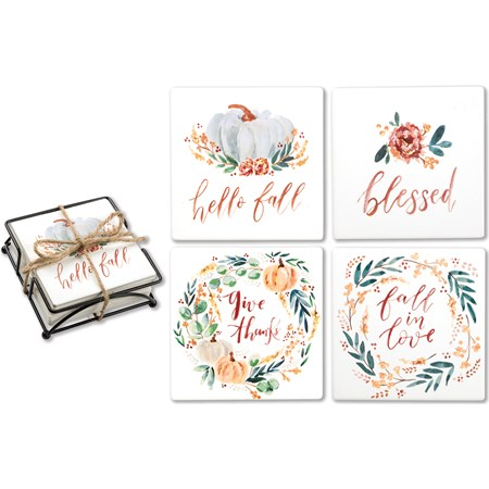 "Coaster Set - Fall Blessings - 4"" x 4"" x 1.50"" - Stone, Metal, Cork"