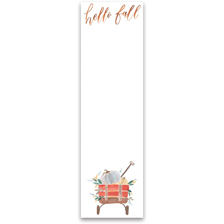 "List Notepad - Hello Fall - 2.75"" x 9.50"" x 0.25"" - Paper, Magnet"