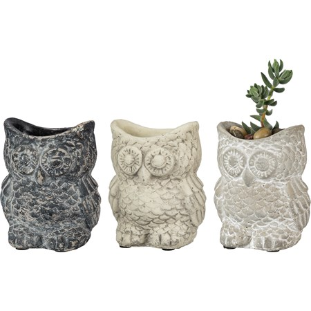 "Cement Owl Planter Set - Small - 3 Colors - 3.50"" x 3.25"" x 2.75"" - Cement"