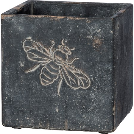 "Cement Planter - Bee - 5"" x 5"" x 5"" - Cement"