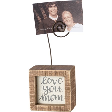 "Inset Photo Block - Love You Mom - 2.50"" x 2.50"" x 1.50"", Plus Wire - Wood, Wire"