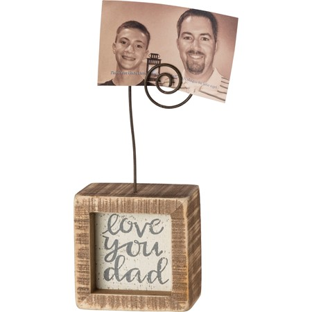 "Inset Photo Block - Love You Dad - 2.50"" x 2.50"" x 1.50"", Plus Wire - Wood, Wire"