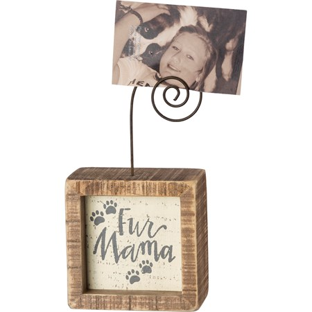 "Inset Photo Block - Fur Mama - 3"" x 3"" x 1.50"", Plus Wire - Wood, Wire"