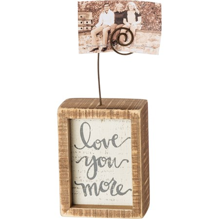 "Inset Photo Block - Love You More - 3"" x 4"" x 1.50"", Plus Wire - Wood, Wire"
