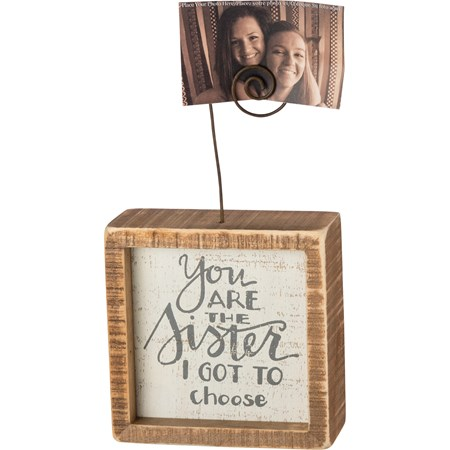 "Inset Photo Block - You Are The Sister I Got To - 4"" x 4"" x 1.50"", Plus Wire - Wood, Wire"