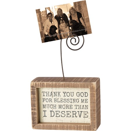 "Inset Photo Block - Thank You God For Blessing Me - 4"" x 3"" x 1.50"", Plus Wire - Wood, Wire"